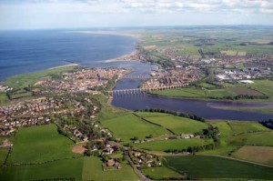 An aerial view of Berwick upon Tweed towards the North Sea.